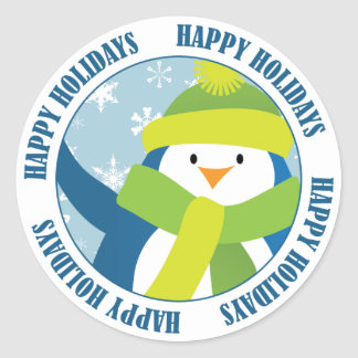 Boas festas etiqueta do pinguim adesivo
