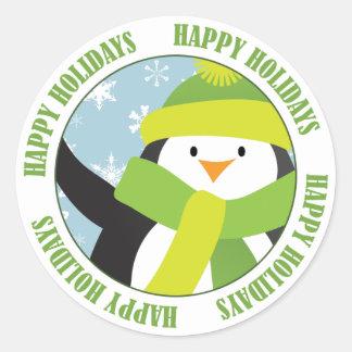 Boas festas etiqueta do pinguim adesivos em formato redondos