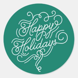 Boas festas etiqueta do verde do Natal do café