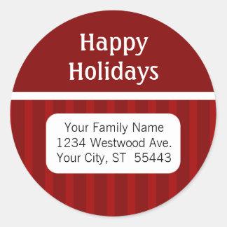 Boas festas etiqueta/etiqueta do endereço do remet adesivos em formato redondos