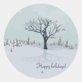 Boas festas! Etiqueta redonda Adesivo