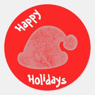 Boas festas etiqueta/selo vermelhos redondos do adesivo
