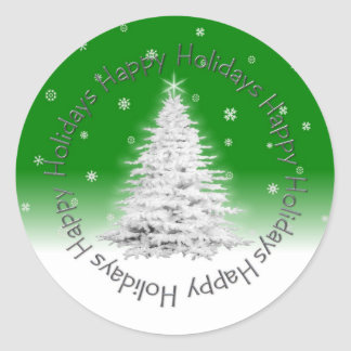 Boas festas etiqueta verde adesivos em formato redondos