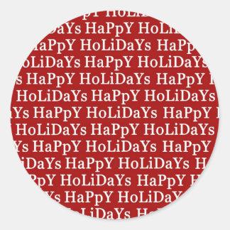 Boas festas etiqueta vermelha do Natal Adesivo Em Formato Redondo
