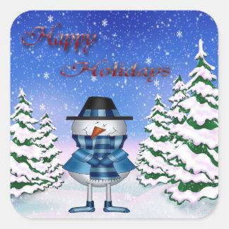 Boas festas etiquetas do boneco de neve adesivo quadrado