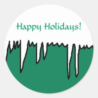 Boas festas! - Etiquetas do feriado Adesivos Em Formato Redondos