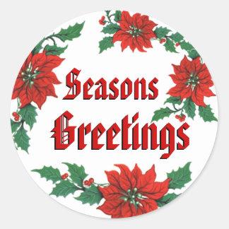 Boas festas etiquetas do Natal Adesivo Em Formato Redondo
