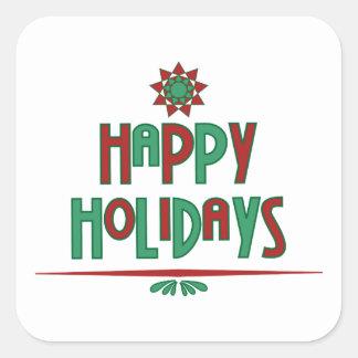 Boas festas etiquetas do Natal da arte da palavra Adesivo Quadrado