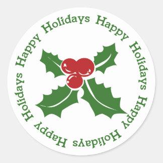 Boas festas etiquetas do Natal da baga do azevinho Adesivo