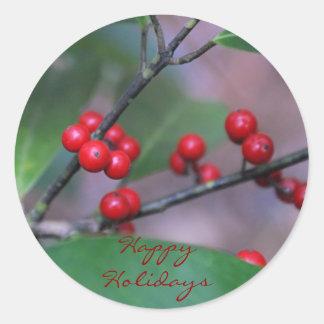 Boas festas etiquetas do Natal do azevinho Adesivo Redondo