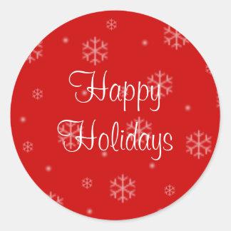 Boas festas etiquetas do Natal dos flocos de neve Adesivo Redondo