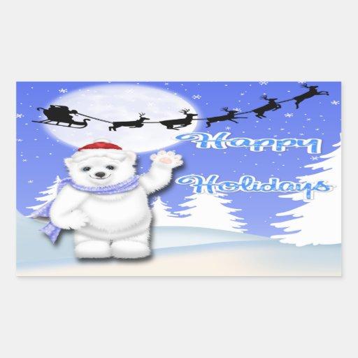 Boas festas etiquetas do retângulo do urso polar adesivos retangular