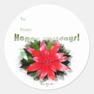 Boas festas etiquetas do Tag do presente Adesivo Em Formato Redondo
