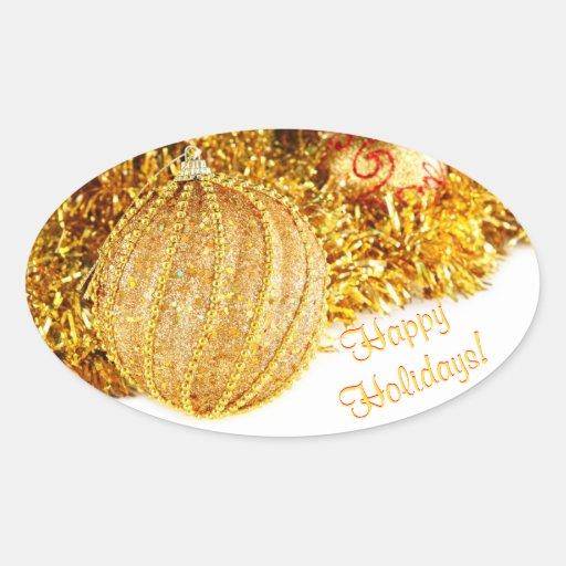 Boas festas etiquetas douradas adesivos oval