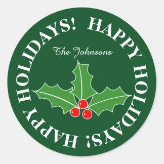 Boas festas etiquetas personalizadas do Natal Adesivo