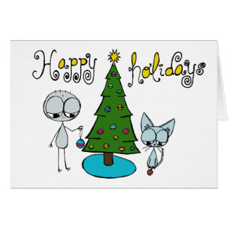 boas festas figura bonito da vara e cartão do gato