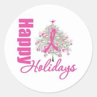 Boas festas fita cor-de-rosa do cancro da mama adesivo em formato redondo