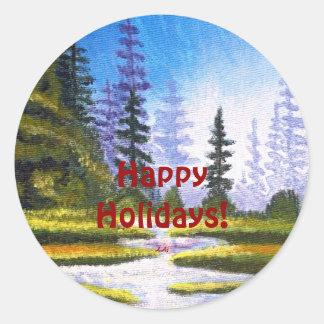 Boas festas floresta do pinho que pinta em volta adesivo redondo
