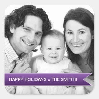 Boas festas foto de família roxa elegante da fita adesivos quadrados