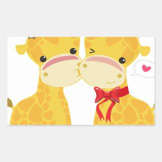 Boas festas girafas do amor adesivo retangular