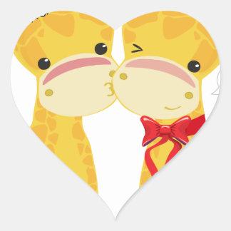 Boas festas girafas do amor adesivo de coração