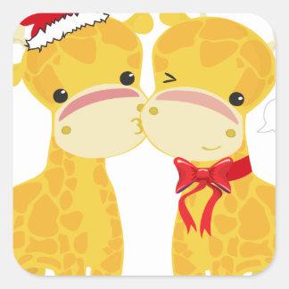 Boas festas girafas do amor adesivo em forma quadrada