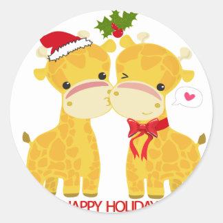 Boas festas girafas do amor adesivos em formato redondos