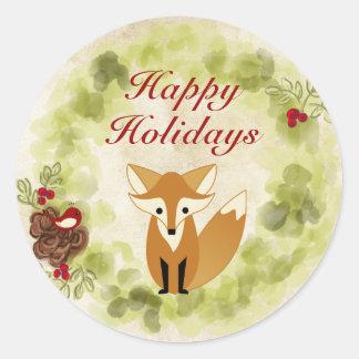 Boas festas grinalda do Fox e do Natal da floresta Adesivo
