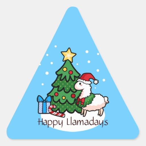 Boas festas lama adesivo triângulo