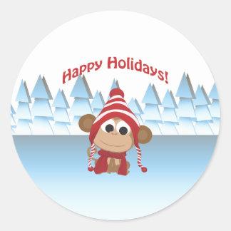 Boas festas! Macaco do inverno Adesivo