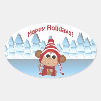 Boas festas! Macaco do inverno Adesivo Oval