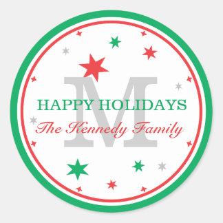 Boas festas monograma personalizado da família adesivos redondos