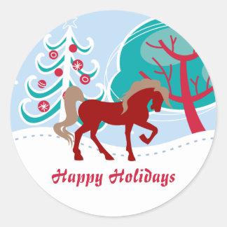Boas festas Natal nevado do inverno do cavalo Adesivo