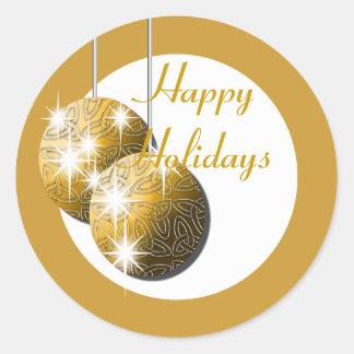 Boas festas negócio de família do ouro adesivo em formato redondo