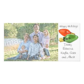Boas festas o italiano ilumina o cartão com fotos cartão com foto
