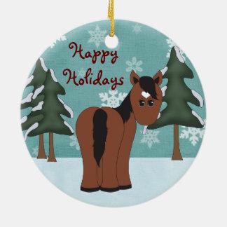 Boas festas ornamento personalizado do cavalo