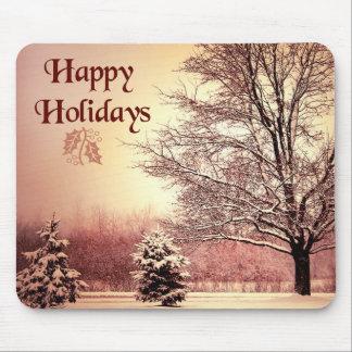 Boas festas paisagem bonita do inverno mouse pad
