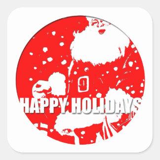 Boas festas - Papai Noel - Adesivo Quadrado