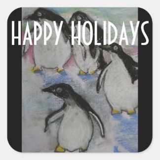 Boas festas pinguins adesivo quadrado
