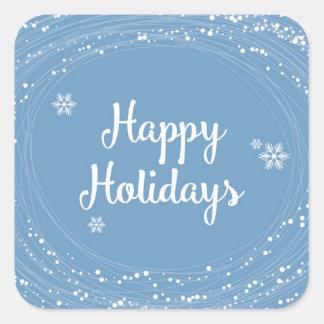 Boas festas pontos da neve, azul e branco, adesivo quadrado