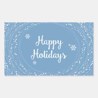 Boas festas pontos da neve, azul e branco, adesivo retangular