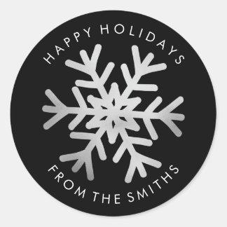 Boas festas - prata do Natal e etiqueta preta