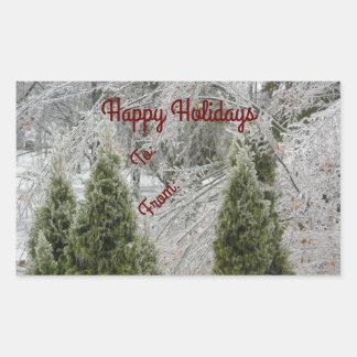 Boas festas ramos gelados tranquilos adesivo retangular