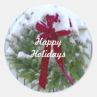 Boas festas selos da estação do Natal da grinalda Adesivo