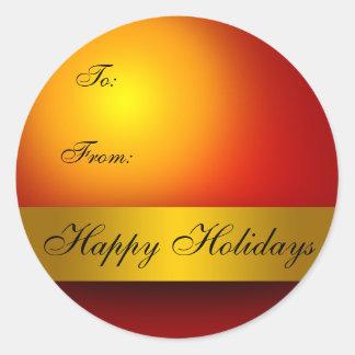 Boas festas Tag do presente do ornamento Adesivo Em Formato Redondo