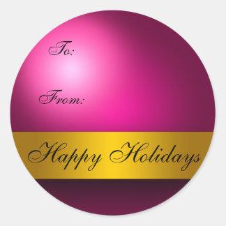 Boas festas Tag do presente do ornamento Adesivos Em Formato Redondos