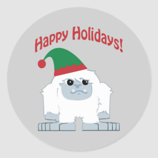 Boas festas! Yeti do Natal Adesivos Em Formato Redondos