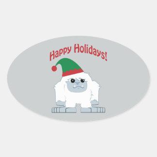 Boas festas! Yeti do Natal Adesivos Em Formato Oval