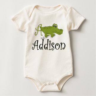 Body Para Bebê A é para Addison, T do jacaré do bebê