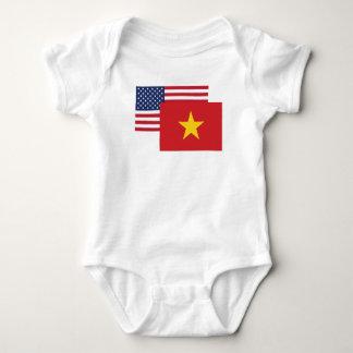 Body Para Bebê Bandeira americana e vietnamiana